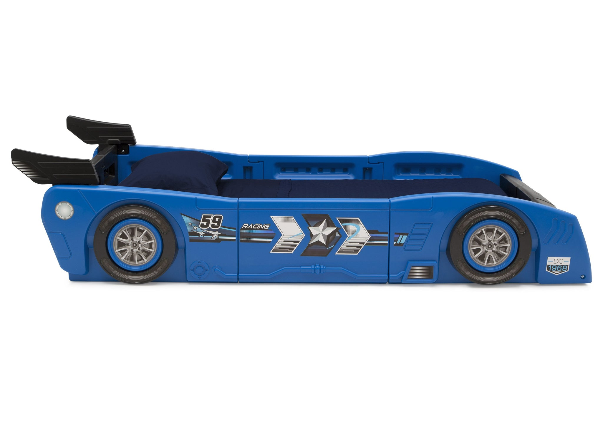 Delta Children Blue & Black (485) Grand Prix Race Car Toddler-to-Twin Bed, Twin Side Silo View