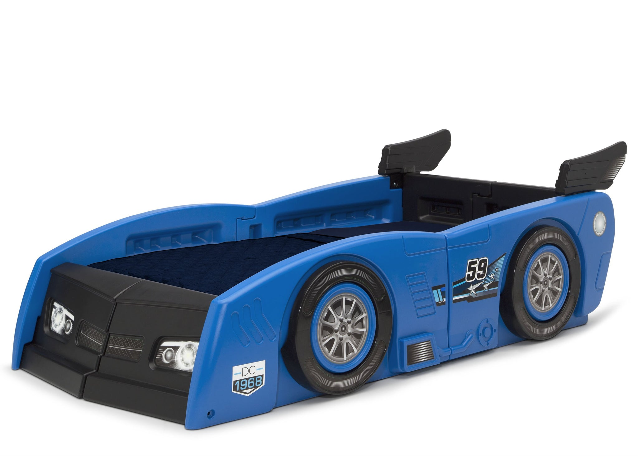 Delta Children Blue & Black (485) Grand Prix Race Car Toddler-to-Twin Bed, Toddler Left View
