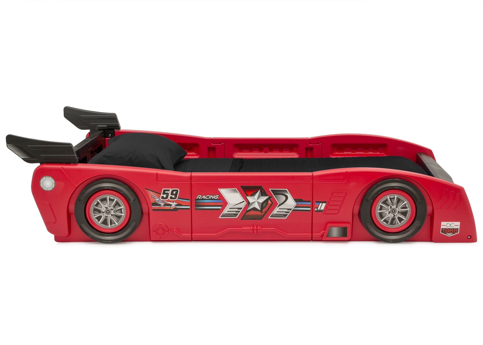 Delta Children Red & Black (620) Grand Prix Race Car Toddler-to-Twin Bed, Twin Side Silo View