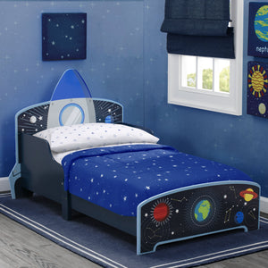 Space Adventures Rocket Ship Wood Toddler Bed