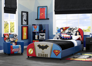 Delta Children DC Comics Justice League Upholstered Twin Bed Justice League (1215), Room View a1a
