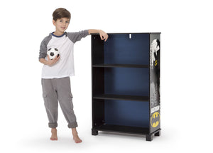 Delta Children Batman (1200) Batman Deluxe 3-Shelf Bookcase (FL86731BT), Silo with kid, a4a