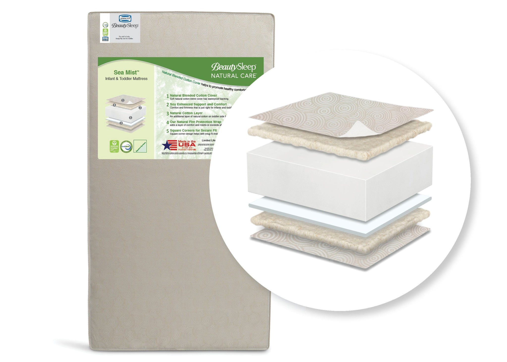 BeautySleep Natural Care Sea Mist Crib and Toddler Mattress by Beautyrest, Main View