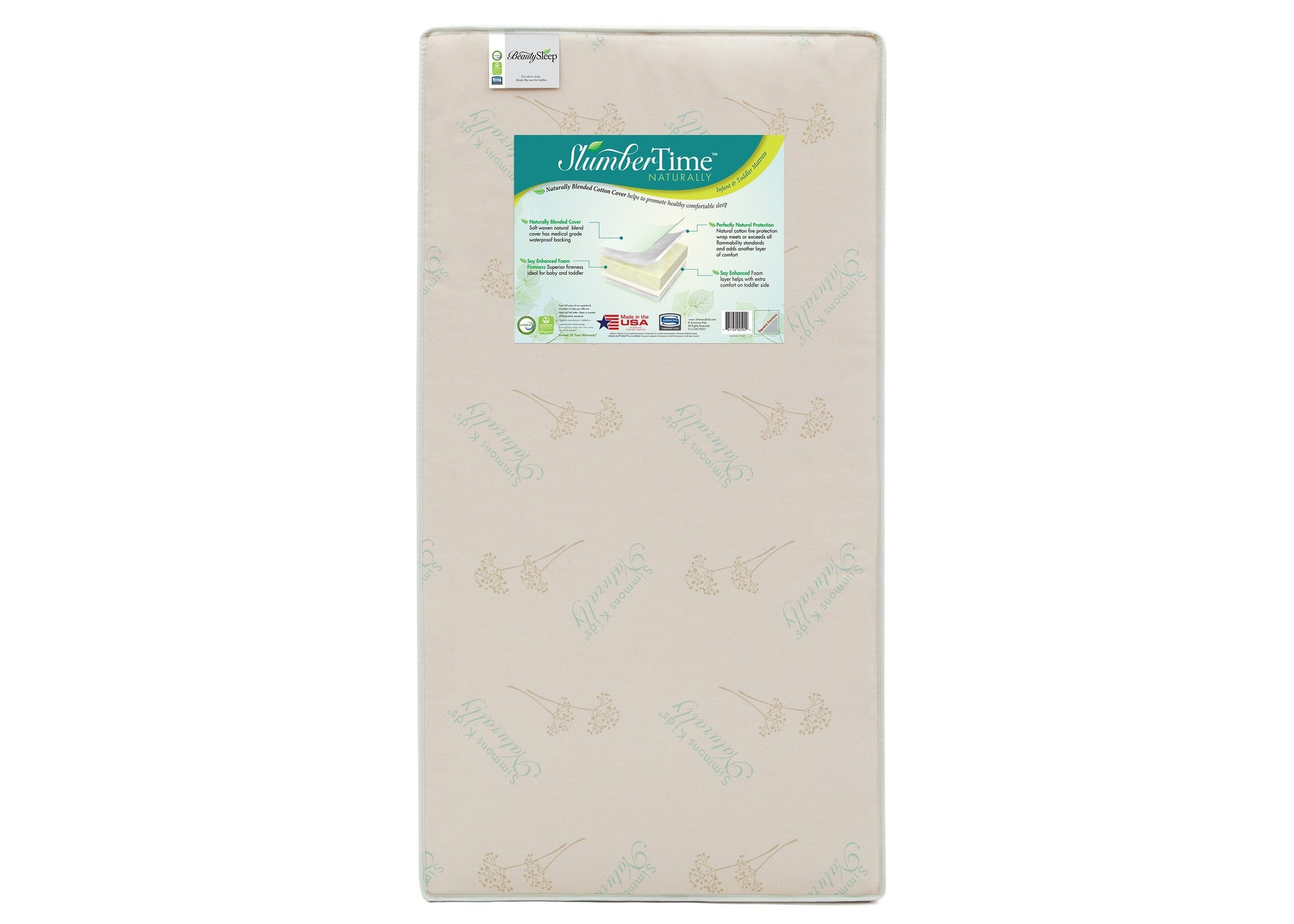 Simmons Kids Naturally 2 'n' 1 Convertible Mattress Left View a1a No Color (NO)