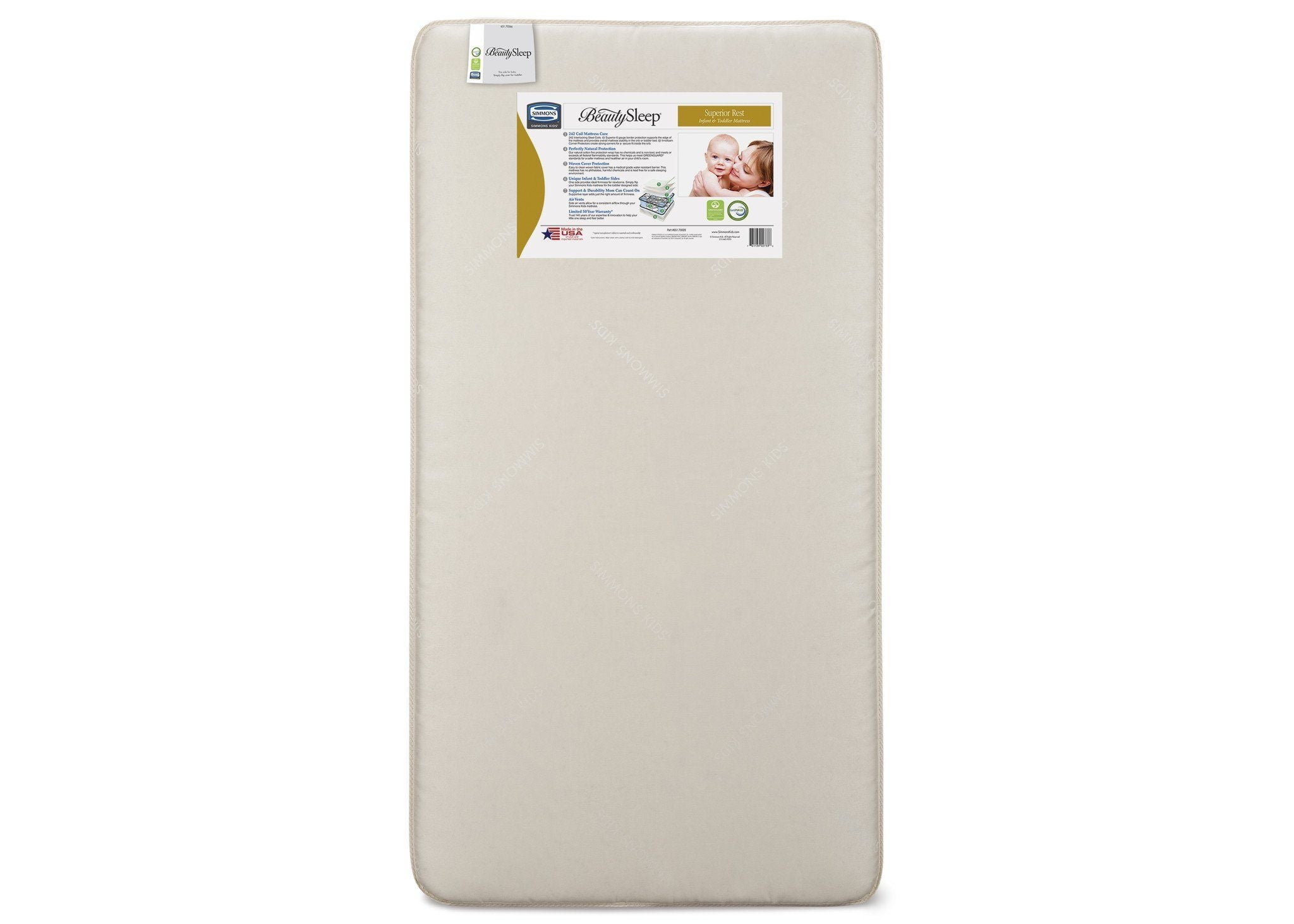 Simmons Kids Superior Rest Infant & Toddler Mattress Front View a1a No Color (NO)