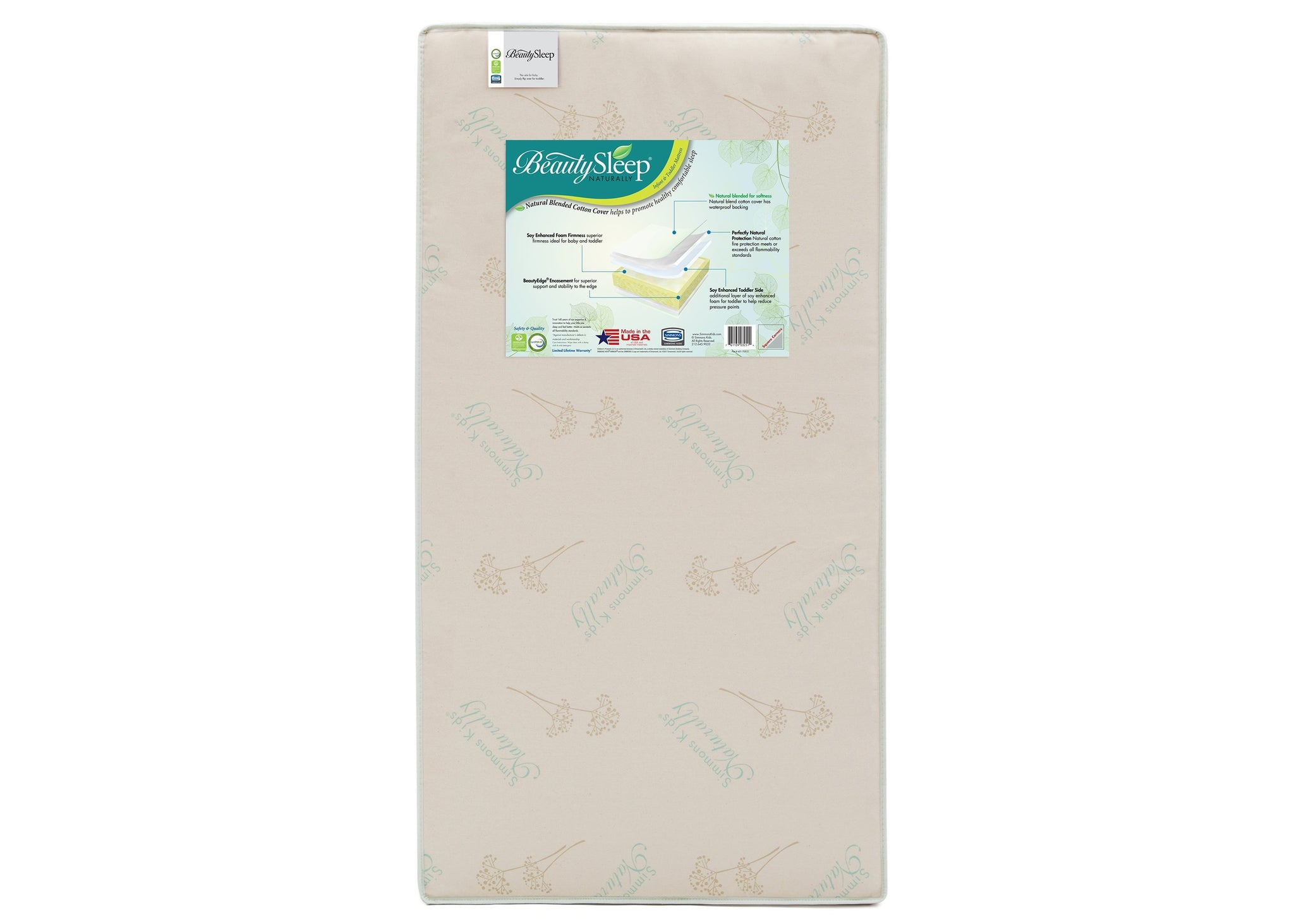 Simmons Kids BeautySleep® Naturally Comforting Crib & Toddler Mattress, Front View, a2a No Color (NO)