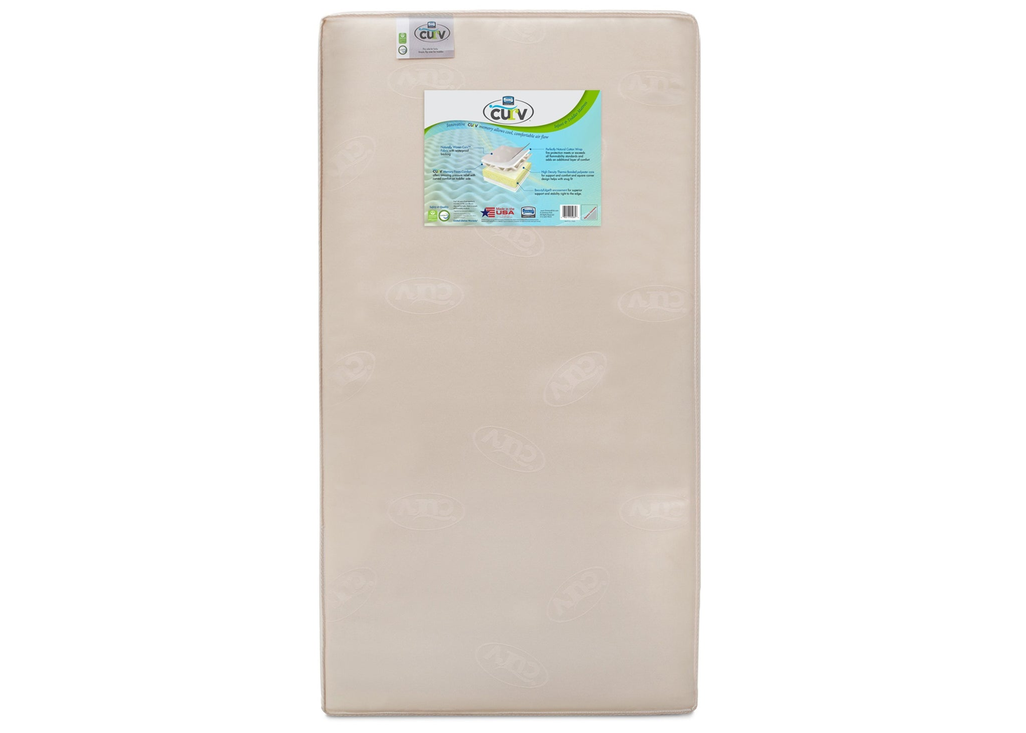 "Simmons Kids CURVâ""¢ Memory Foam Comfort Crib & Toddler Mattress, Front View, a4a No Color (NO)"