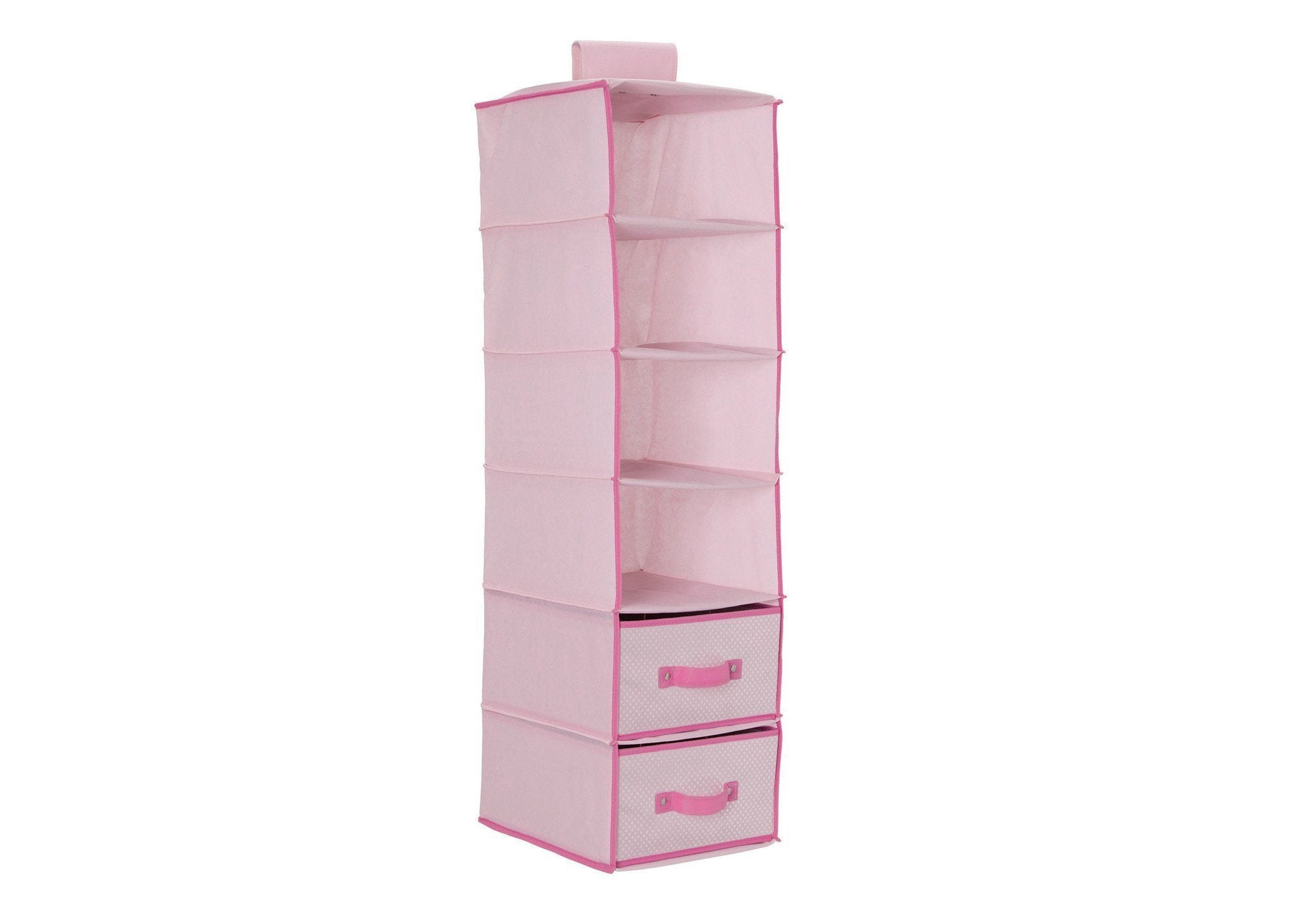 Delta Children Barely Pink (689) 6 Shelf Storage with 2 Drawers, Drawer Option e1e