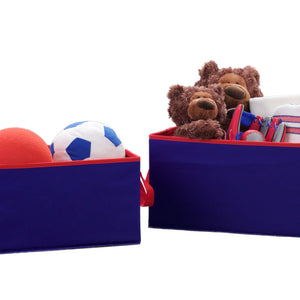 2 Piece Foldable Storage Bin Basket Box (Navy and Red)