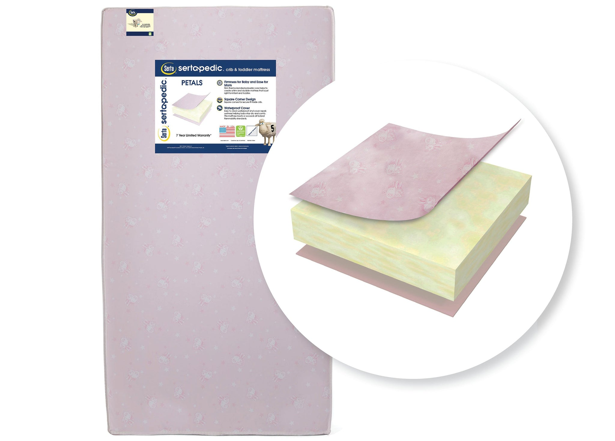 Sertapedic® Petals Crib and Toddler Mattress (A41102-3190-NO), cutout, a2a No Color (NO)