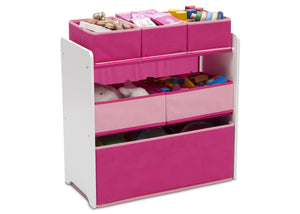 Delta Children Bianca White with Pink (130) Design and Store 6 Bin Toy Organizer, Right Silo View