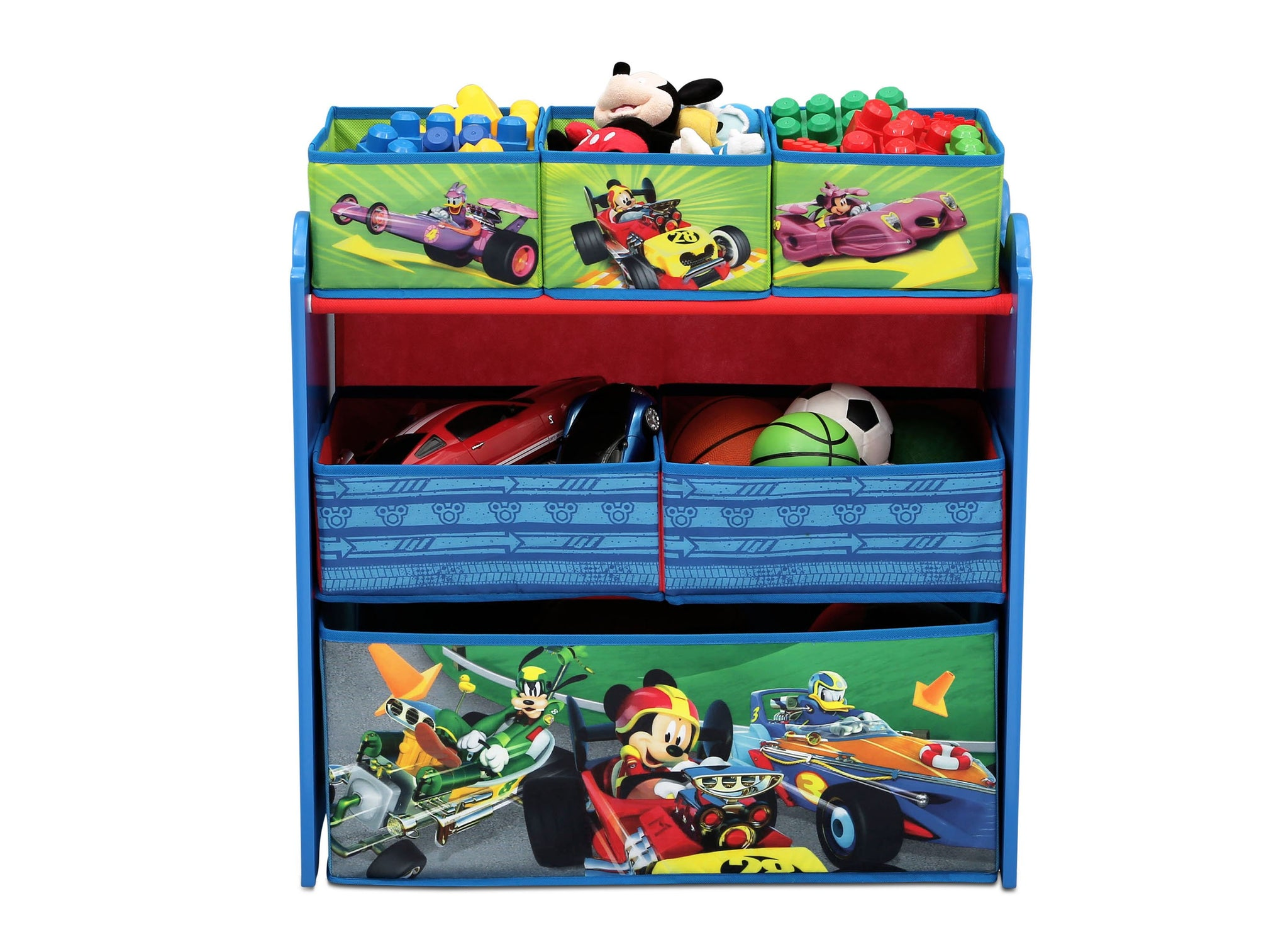 Delta Children Mickey Mouse (1053) Multi-Bin Toy Organizer (TB83242MM-1053), Front View with Props a3a