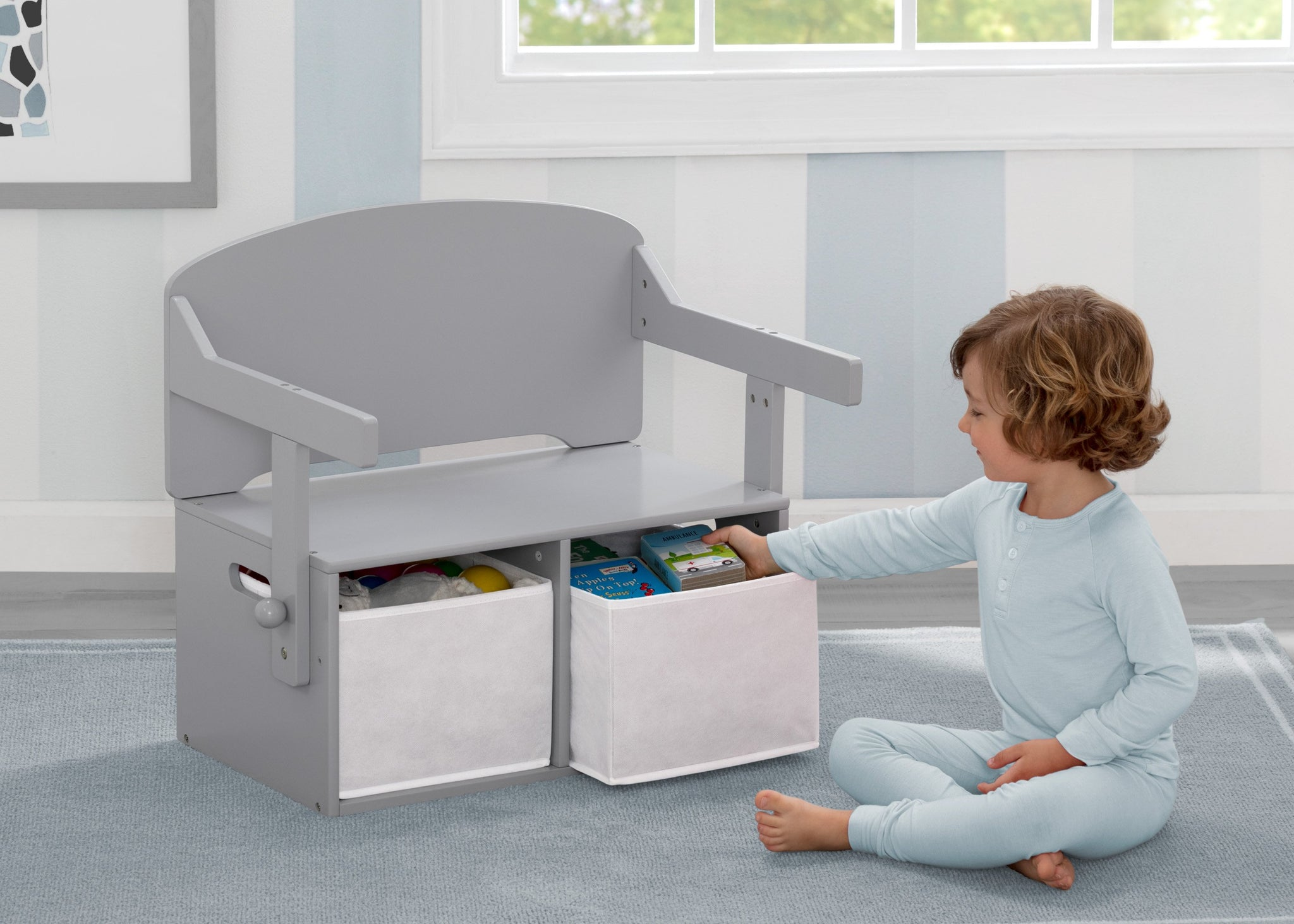 Delta Children Grey (026) MySize Activity Bench, Model View 2