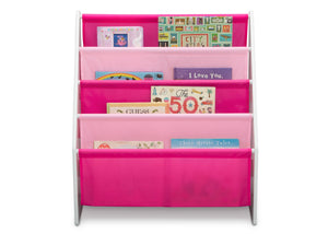 Delta Children White/Pink (130) Sling Book Rack Bookshelf for Kids, Front Silo View with Props Bianca White (130)