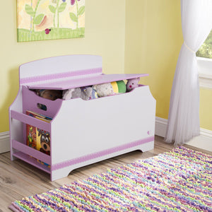 Pink and White Jack and Jill Deluxe Toy Box with Book Rack Style 1, Room View a1a