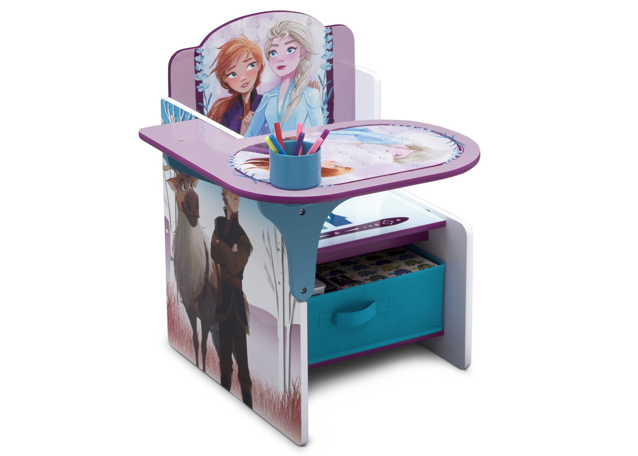 Delta Children Frozen 2 (1097) Chair Desk with Storage Bin, Right Silo View