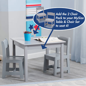 MySize Wood Kids Chairs for Playroom (Pack of 2)