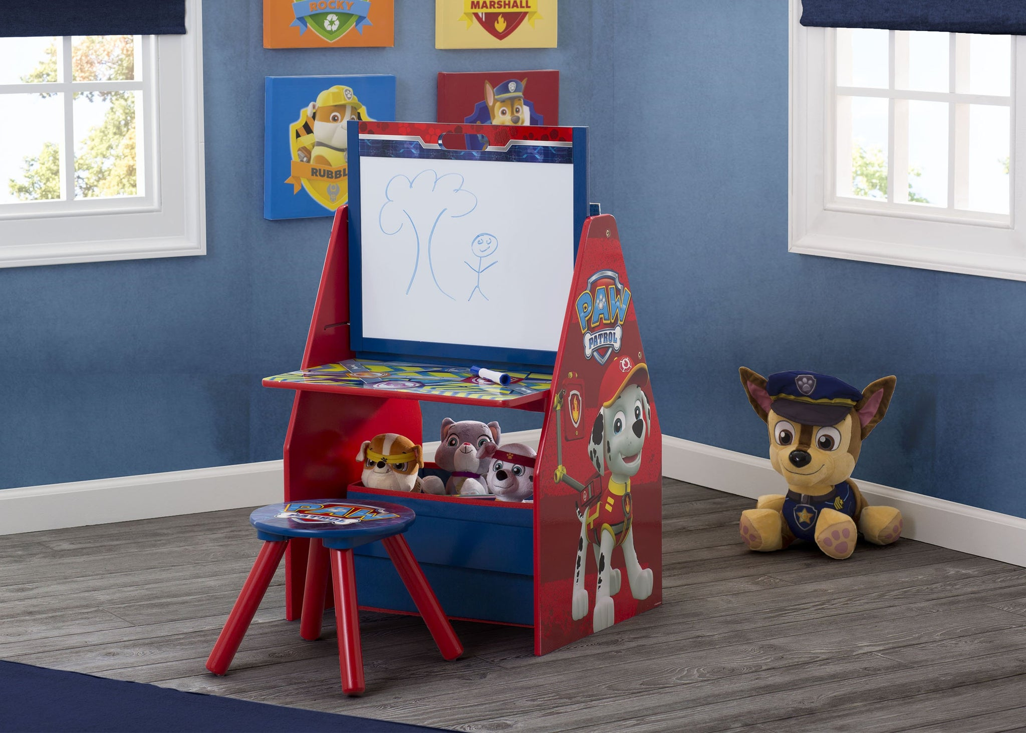 PAW Patrol Deluxe Kids Art Table - Easel, Desk, Stool, Toy Organizer