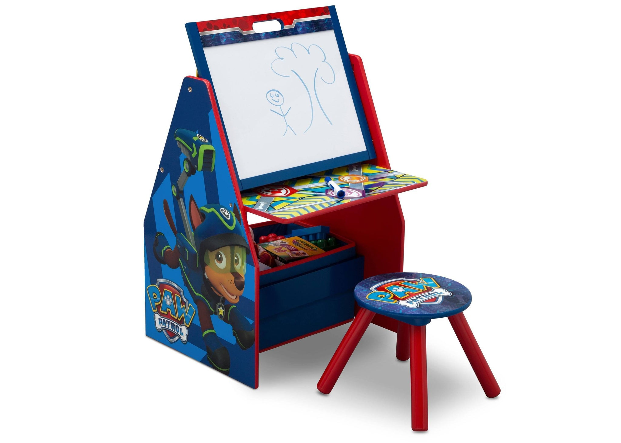 Delta Children PAW Patrol Activity Center - Easel Desk with Stool & Toy Organizer Right View Easel Desk a1a
