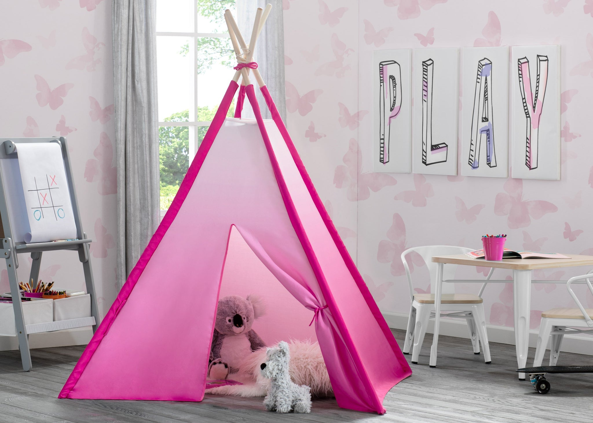 Delta Children Pink Ombre (999) Teepee Play Tent for Kids, Hangtag View