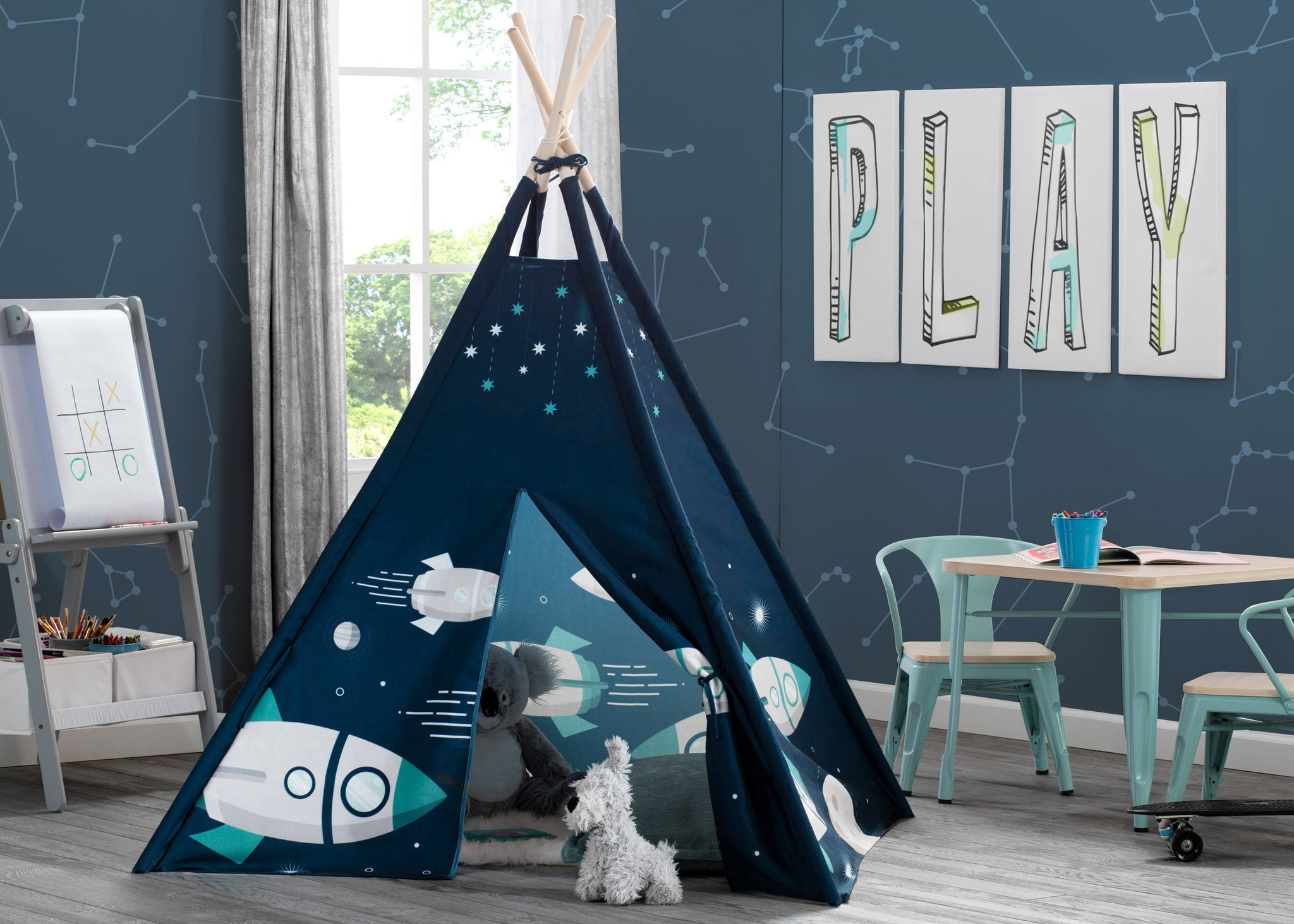 Delta Children Outer Space Adventures (999) Teepee Play Tent for Kids, Hangtag View