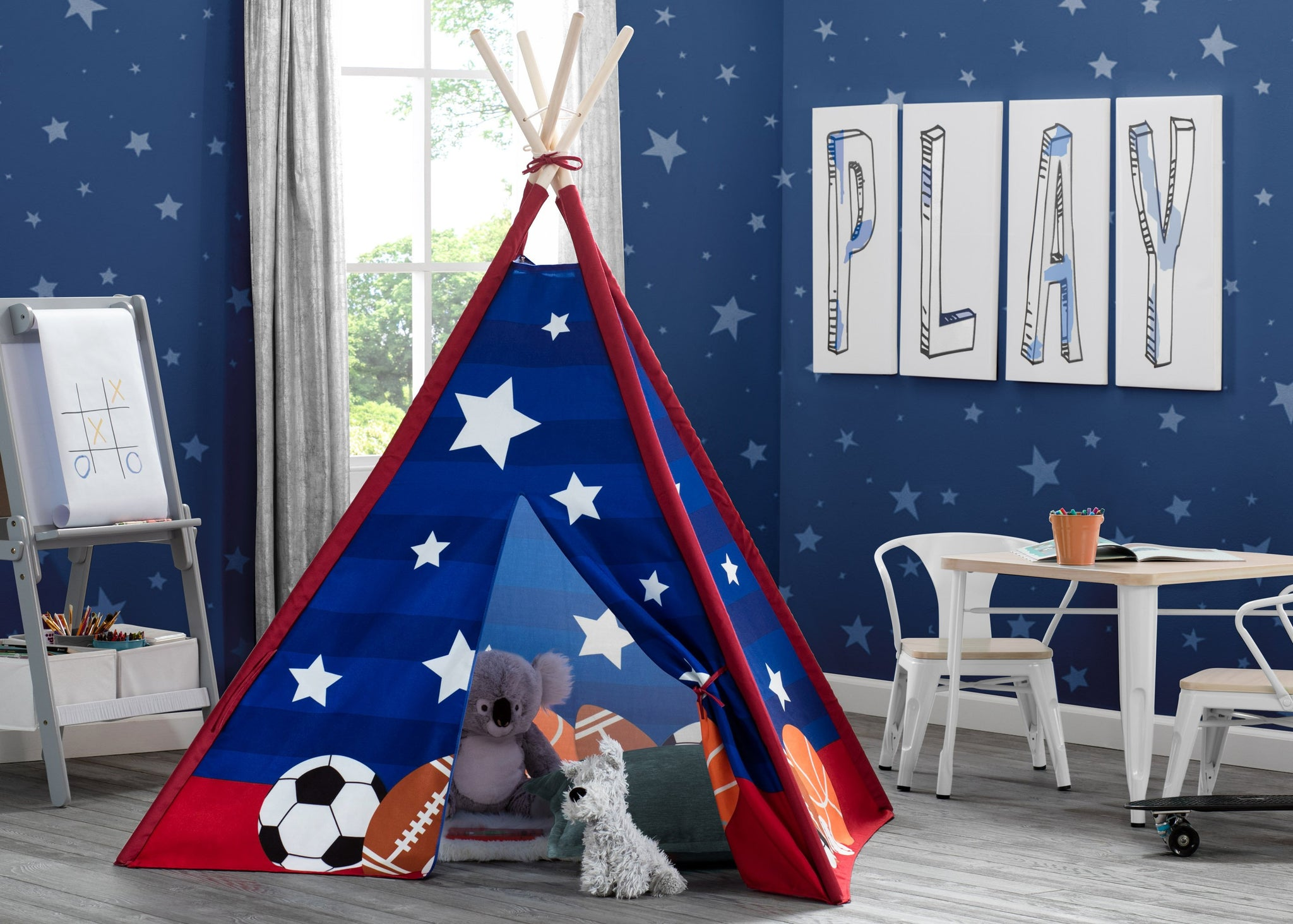 Delta Children All-Star Sports (999) Teepee Play Tent for Kids, Hangtag View