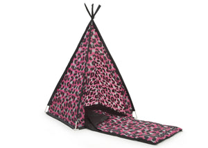 Delta Children Pink Cheetah (999) Teepee Play Tent and Matching Sleeping Bag Set for Kids, Right Silo with Sleeping Bag View