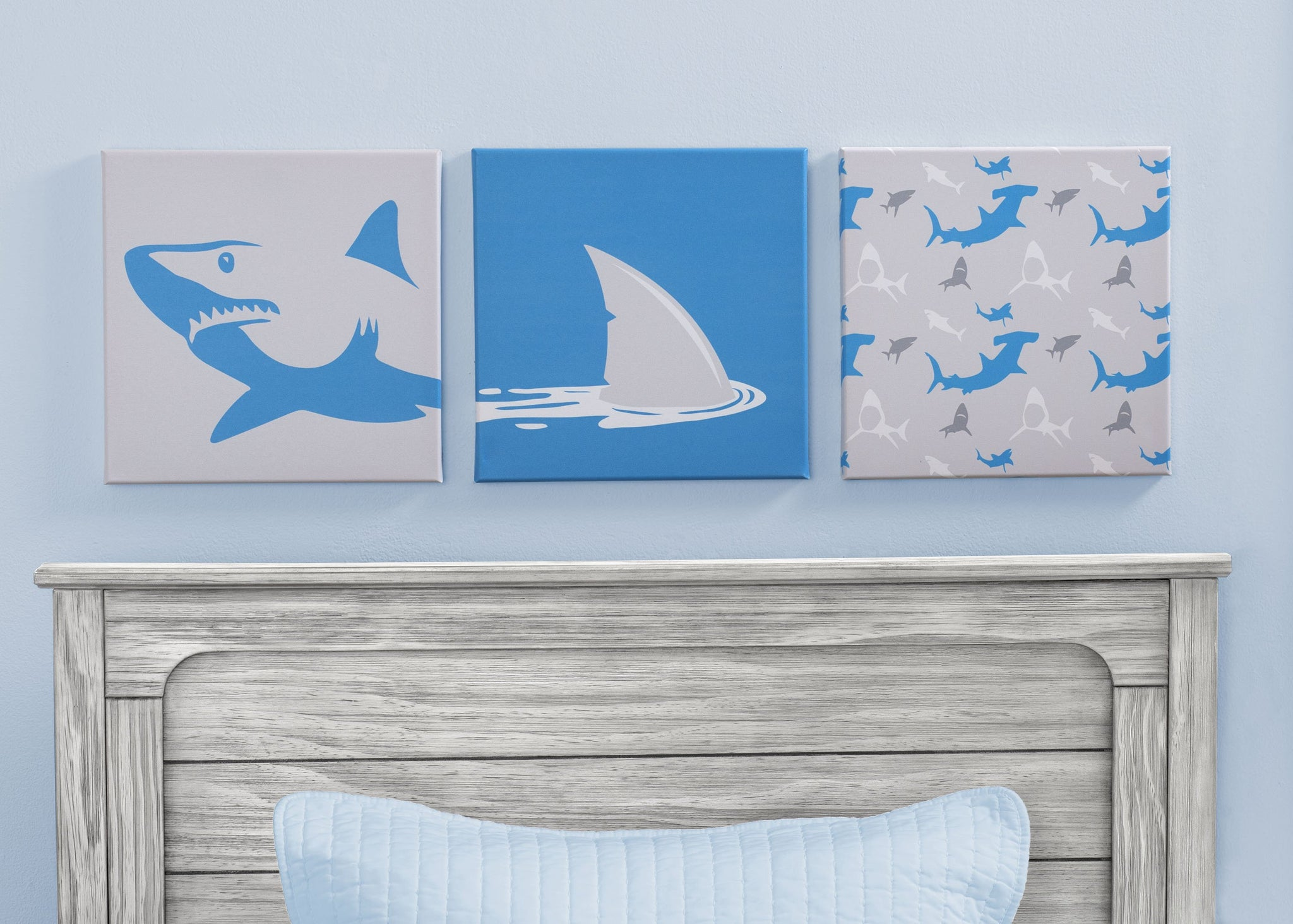 Delta Children Shark (3208) 3-Piece Canvas Wall Art Set for Boys, Hangtag View