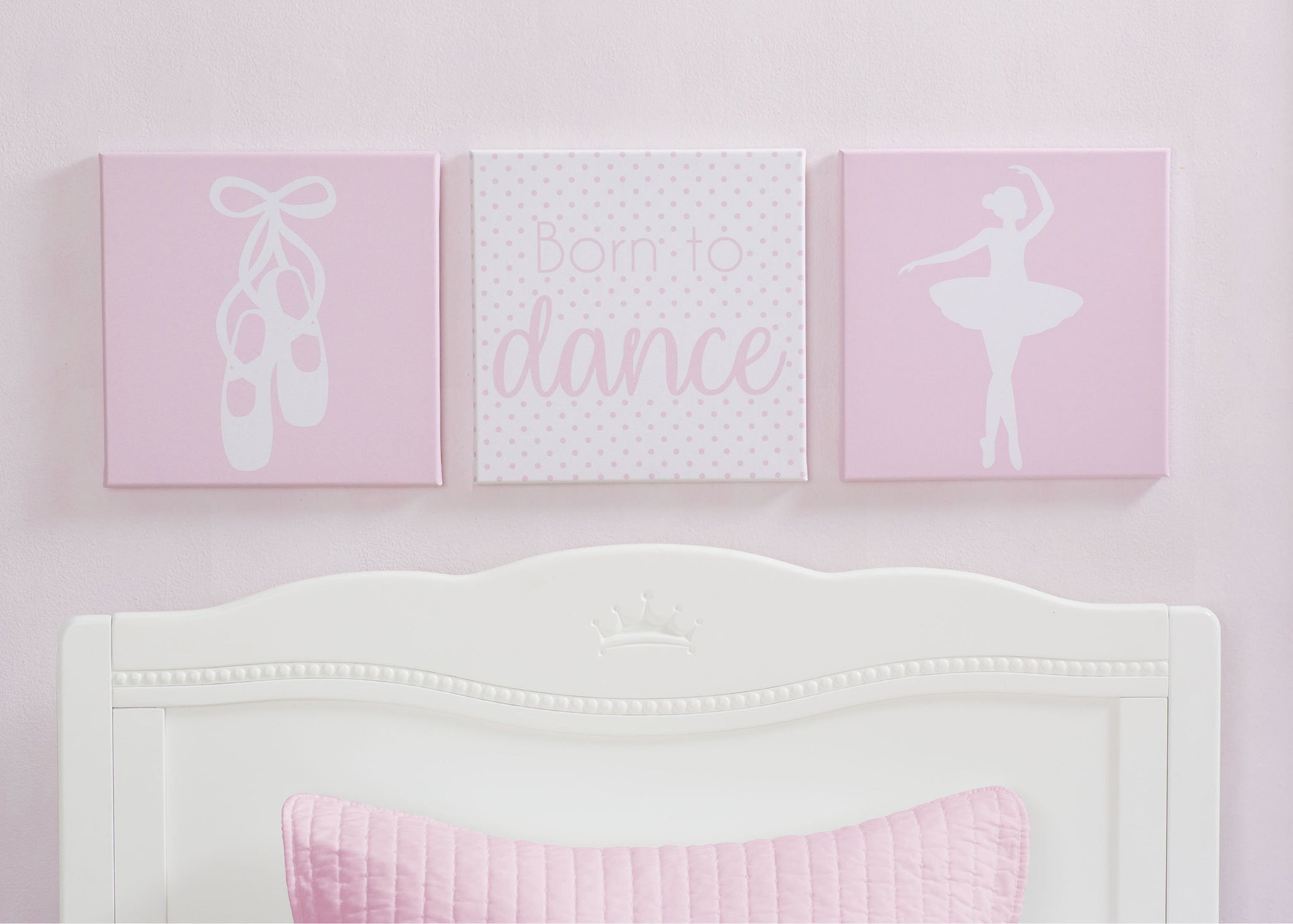 Delta Children Ballerina (3007) 3-Piece Canvas Wall Art Set for Girls, Hangtag View