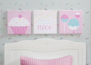 Delta Children Cake Pops (3012) 3-Piece Canvas Wall Art Set for Girls, Hangtag View
