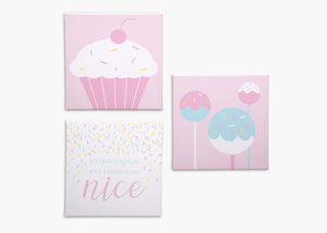 Delta Children Cake Pops (3012) 3-Piece Canvas Wall Art Set for Girls, All Art Silo View