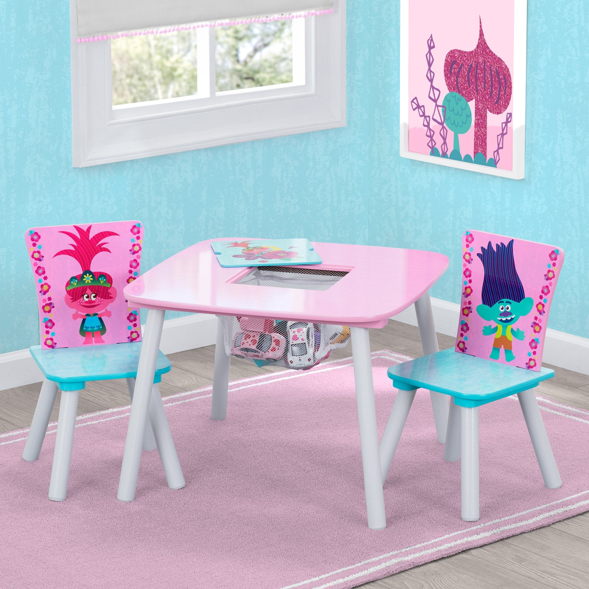 Trolls World Tour Table and Chair Set with Storage