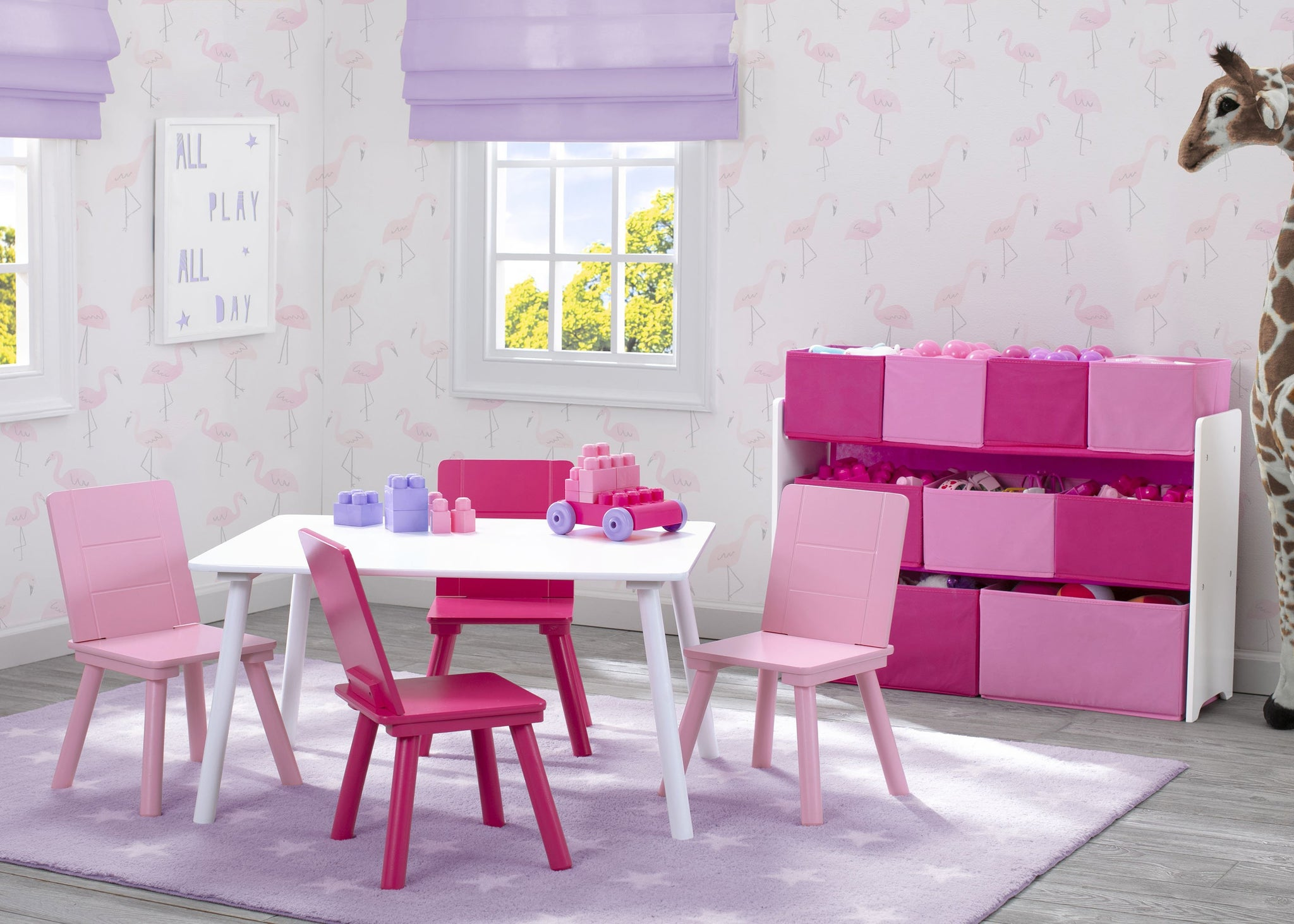 Delta Children Bianca White (130) Table and Chair Set, Room View