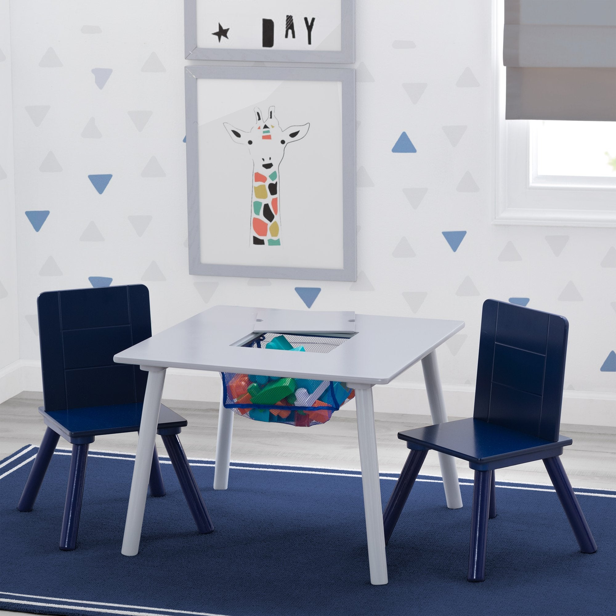 Kids Table and Chair Set with Storage (2 Chairs Included)