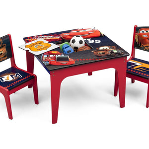 Delta Children Cars Deluxe Table and Chair with Storage, Right View with Props a1a
