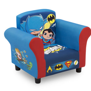 Delta Children Style 1 Super Friends (Superman | Batman | The Flash | Aquaman) Kids Upholstered Chair Right View a2a