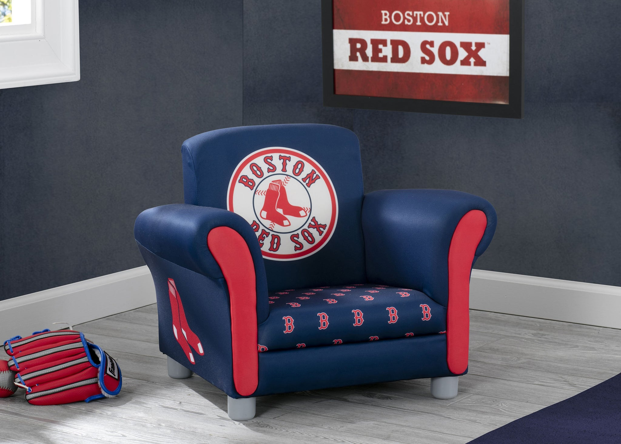 Delta Children Boston Red Sox Upholstered Chair, Room Shot a0a