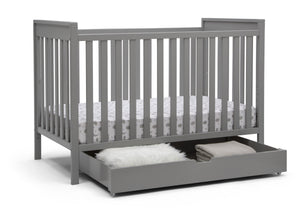 Delta Children Grey (026) Under Crib Roll-Out Storage, Right Crib Silo View