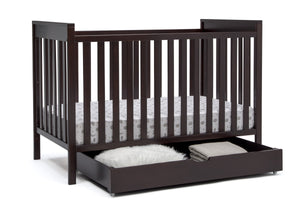Delta Children Dark Chocolate (207) Under Crib Roll-Out Storage, Right Crib Silo View