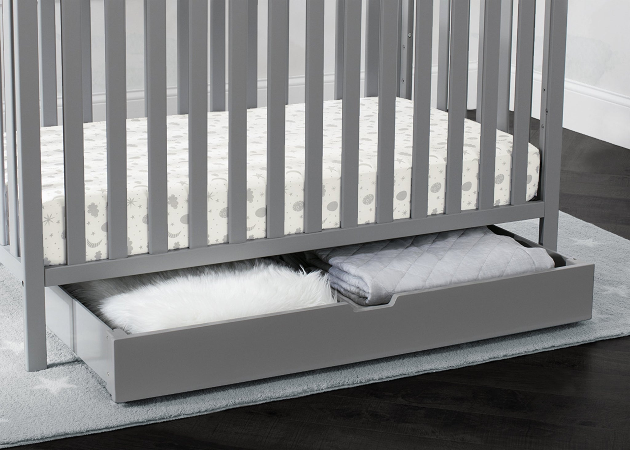 Delta Children Grey (026) Under Crib Roll-Out Storage, Hangtag View