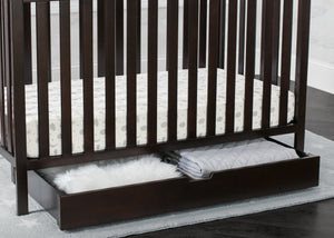 Delta Children Dark Chocolate (207) Under Crib Roll-Out Storage, Hangtag View