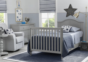 Delta Children Grey (026) Mini Convertible Baby Crib with Mattress and 2 Sheets Twin Bed Room View