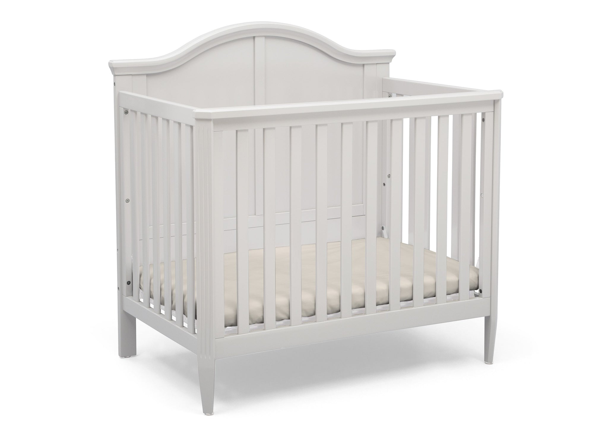 Delta Children Bianca White (130) Mini Convertible Baby Crib with Mattress and 2 Sheets Right Crib Silo View