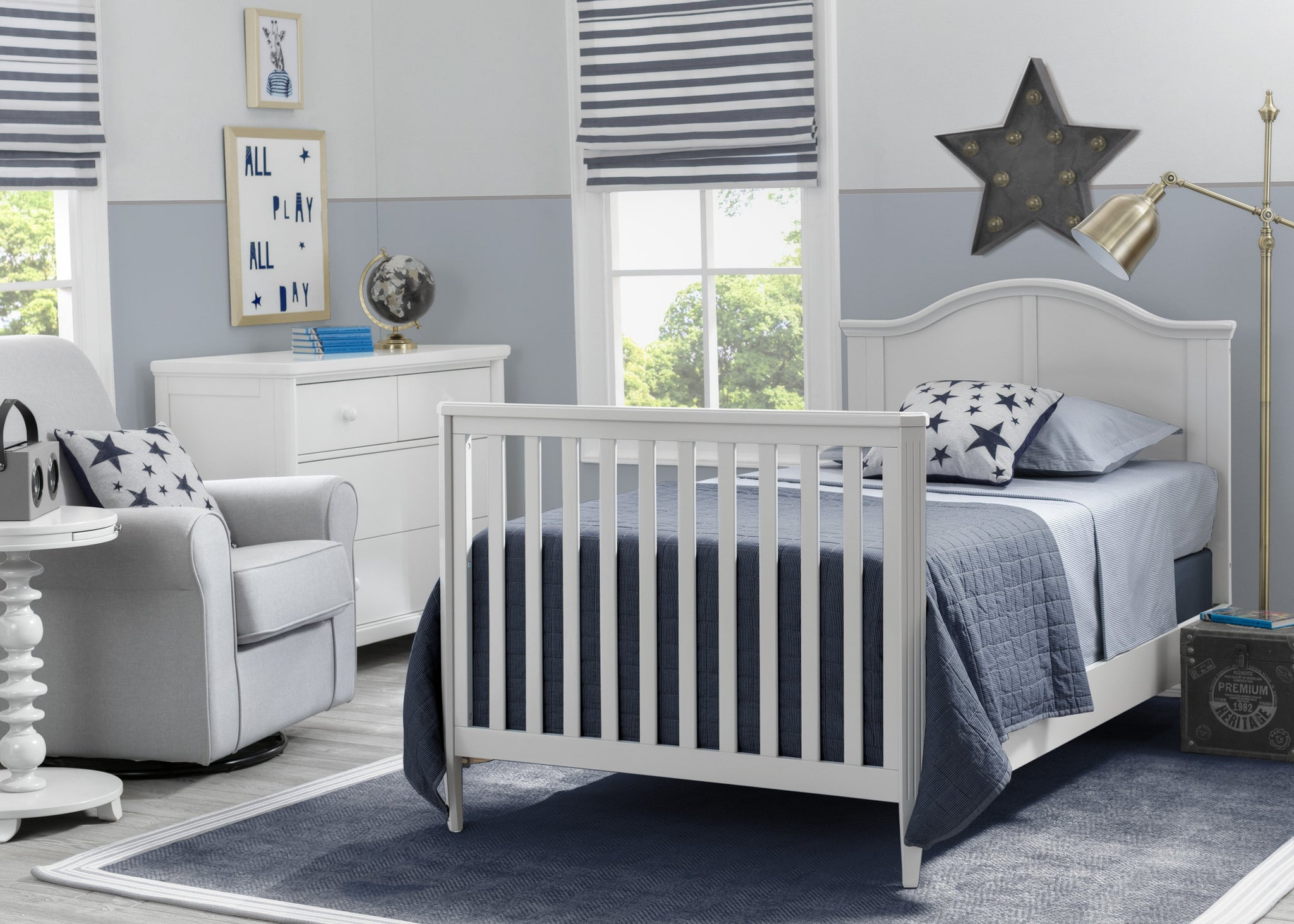 Delta Children Bianca White (130) Mini Convertible Baby Crib with Mattress and 2 Sheets Twin Bed Room View