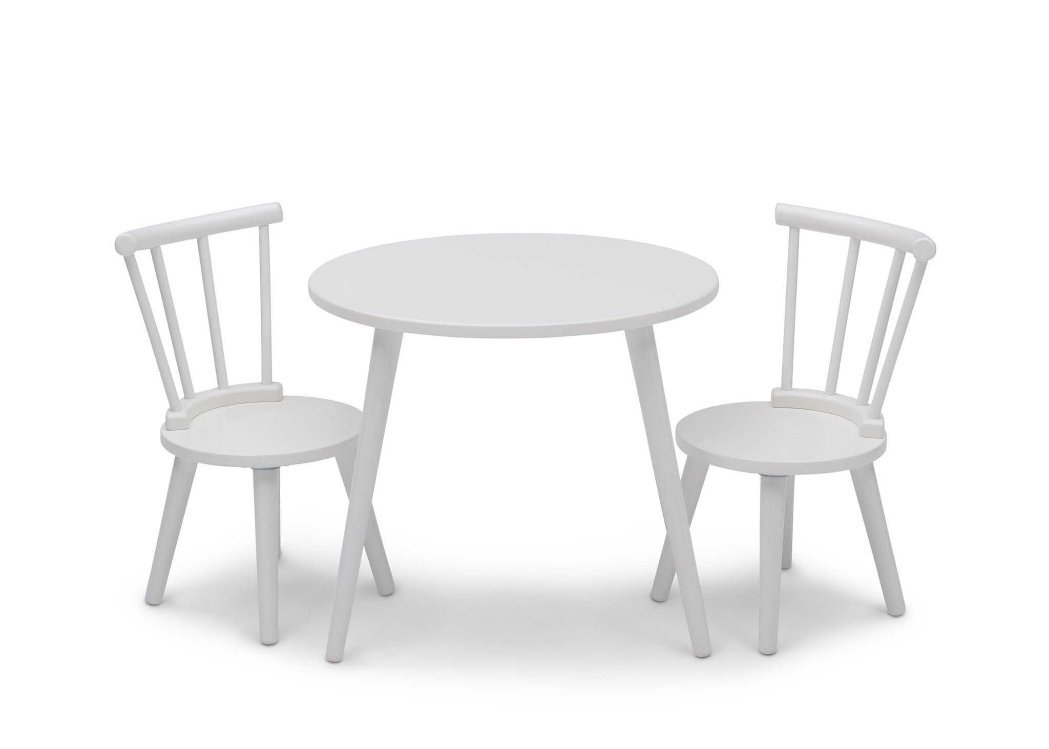 Delta Children Bianca White (130) Homestead Table and Chair Set, Front Silo View