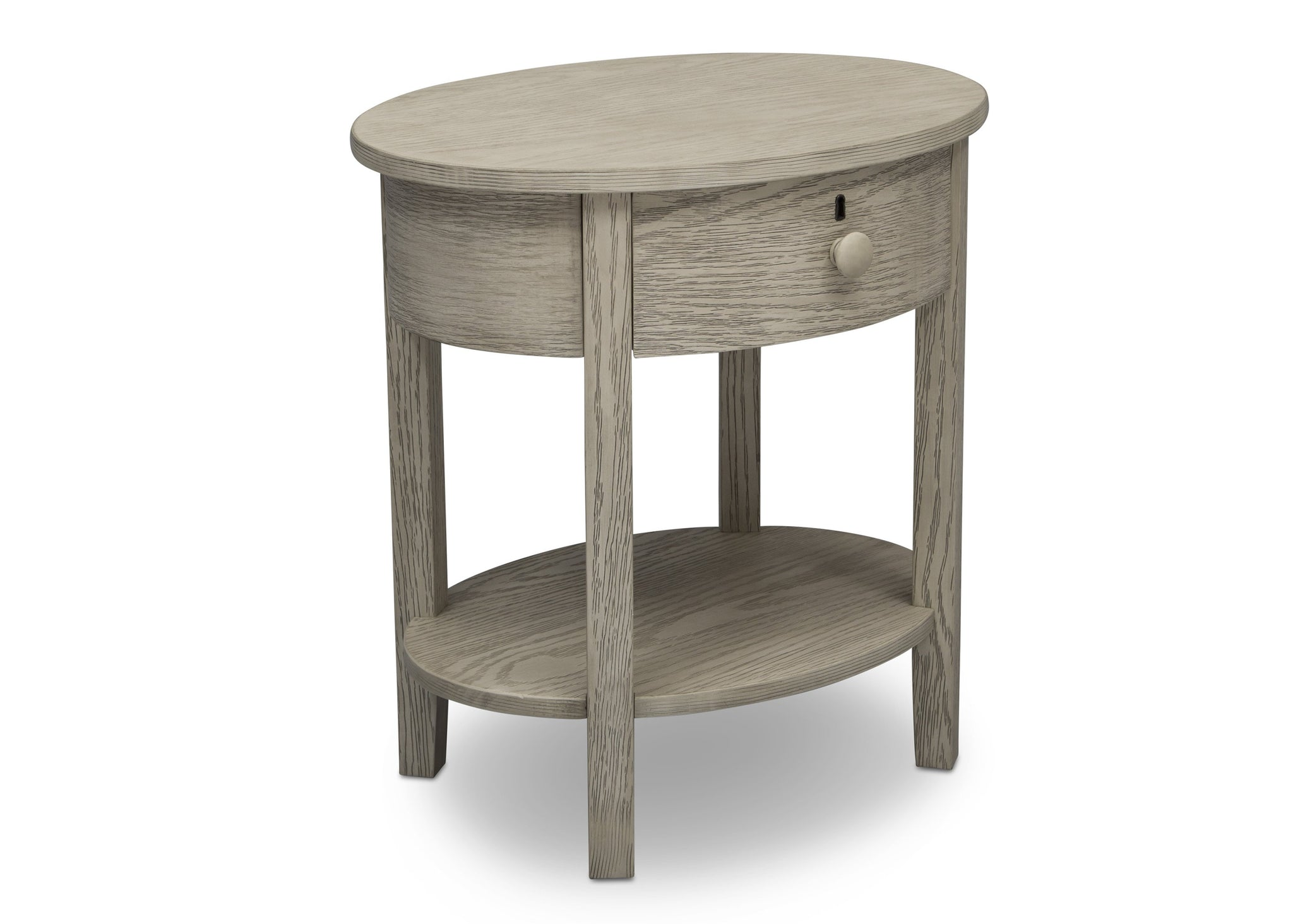Delta Children Textured Limestone (1340) Farmhouse Nightstand with Drawer, Right Silo View