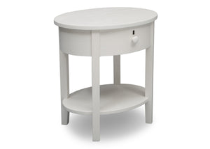 Delta Children Textured White (1349) Farmhouse Nightstand with Drawer, Right Silo View
