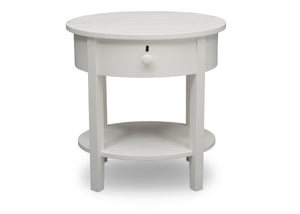 Delta Children Textured White (1349) Farmhouse Nightstand with Drawer, Front Silo View