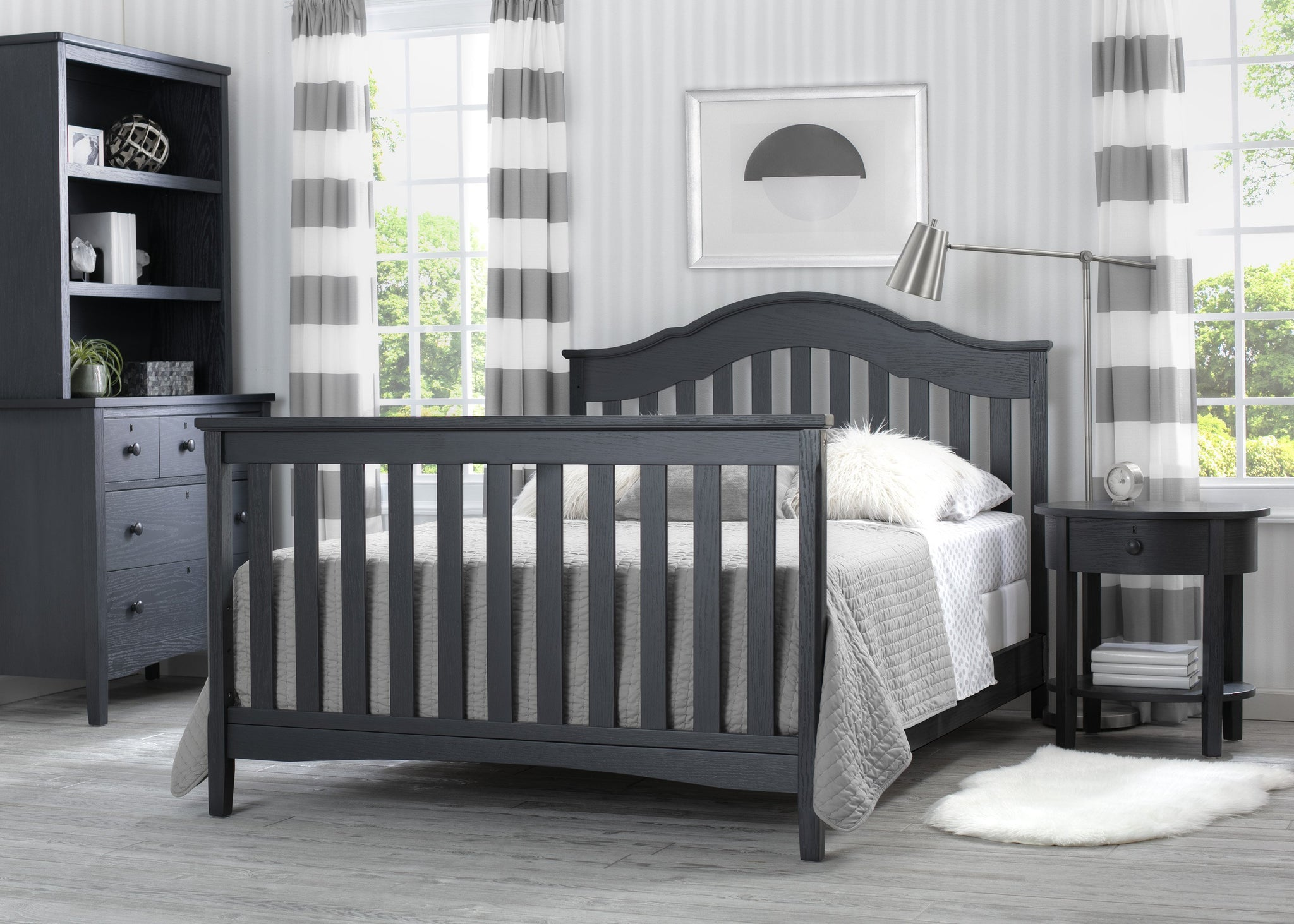 Delta Children Textured Midnight Grey (1347) Farmhouse Nightstand with Drawer, Hangtag View