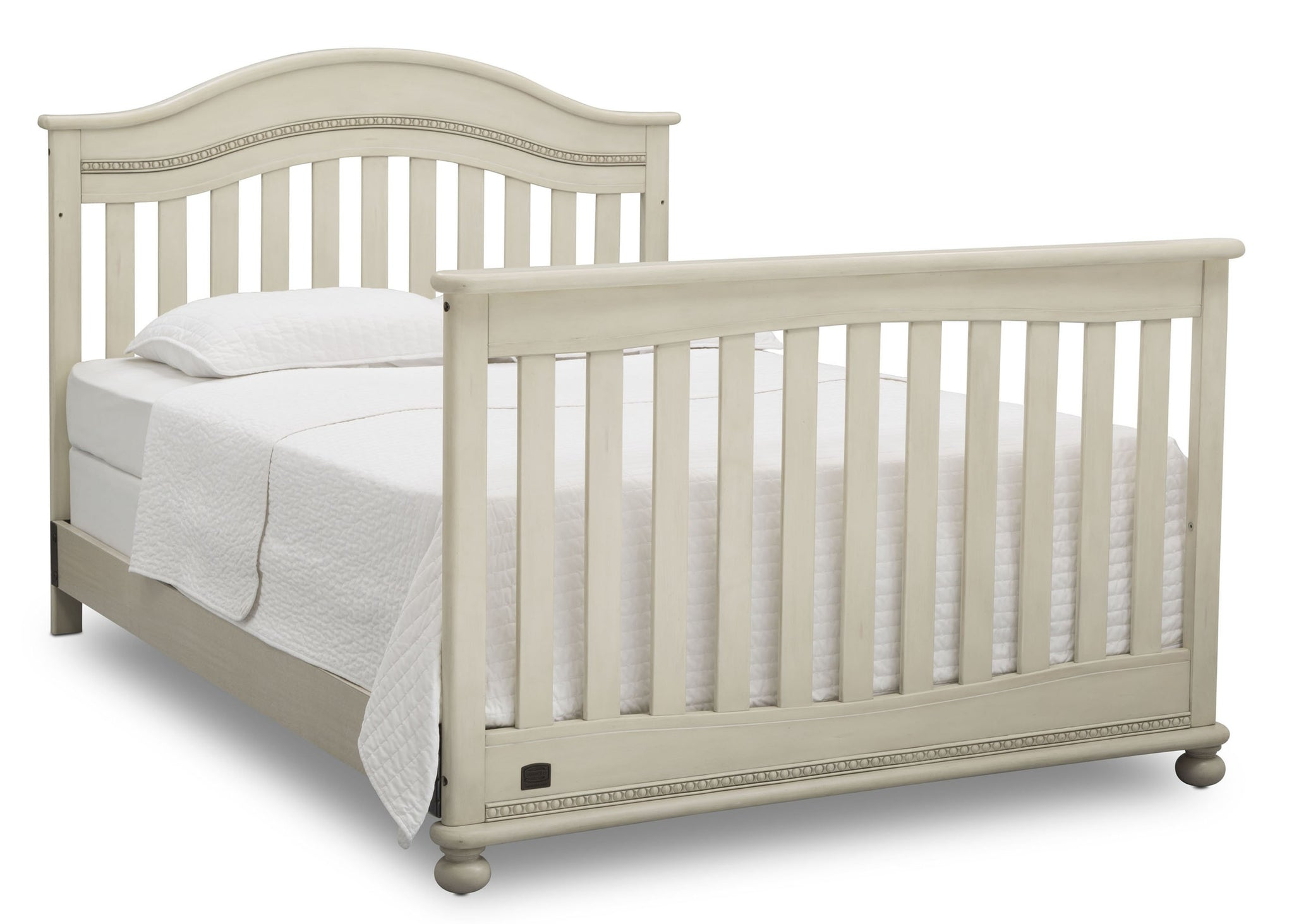 Delta Children Antique White (122) Bristol 4-in-1 Convertible Crib (W337450) Full Bed Conversion, a6a